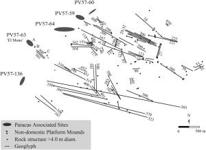 Emplazamientos arqueológicos donde se sitúan los geoglifos de Chincha (Stanish et al, 2014, p. 7220).